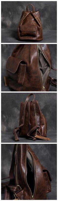 """Women's Leather Backpack Purse Shoulders Bag Travel Bag Daypack Model Number: XL02 Dimensions: 12.2""""L x 5.9""""W x 14.1""""H / 31cm(L) x 15cm(W) x 36cm(H) Weight: 2.6 lb / 1.2kg Hardware: Brass Hardware Sho"""