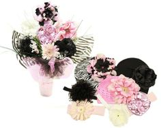 Zebra Bouquet - Zestful gift - 7 stems, When only a WOW will do....shower your flower with our Budding Beauty Flower Hat & Headband Bouquet! Why just send flowers, when you can send two classic gifts in one that will keep her in full bloom ..., #Apparel, #Hats & Caps