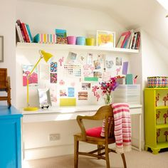 Colourful home office with bright accessories | Traditional home office design ideas