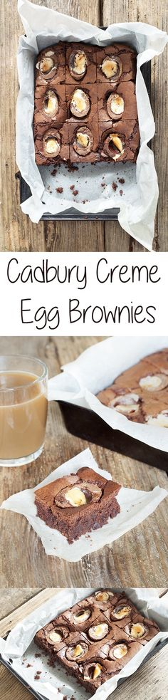 Cadbury Creme Egg Brownies - Easter cakes and baking inspiration - chocolate traybake idea for bake sales and school fete fundraisers Yummy Treats, Sweet Treats, Yummy Food, Baking Recipes, Dessert Recipes, Desserts, Ma Baker, Easter Treats, Easter Cake
