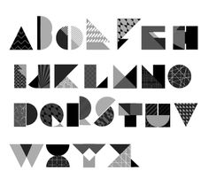 Geometric Font (2012) by Aoyce C, Graphic designer in Newcastle upon Tyne, UK. Creator also of The Simple Font (2012, experimental, geometeric and minimalist)