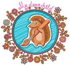 Hedgehog the painter machine embroidery design. Machine embroidery design. www.embroideres.com