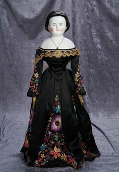 "25"" (64 cm.) German Porcelain Lady Doll with Sculpted Head Band 300/600"