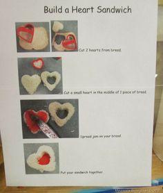"Making a Valentine Sandwich – from StrongStart ("",) - Drink station ideas Valentines Day Activities, Valentine Day Crafts, Valentine Ideas, Eyfs Activities, Infant Activities, Mothers Day Crafts, Crafts For Kids, St Dwynwens Day, Snack Station"