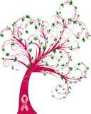 Curly breast cancer awareness tree
