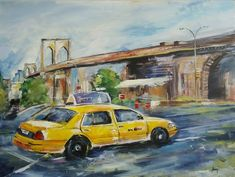 New York City, Shops, I Series, Nyc, Expressive Art, Taxi, Etsy Shop, Canvas, Painting