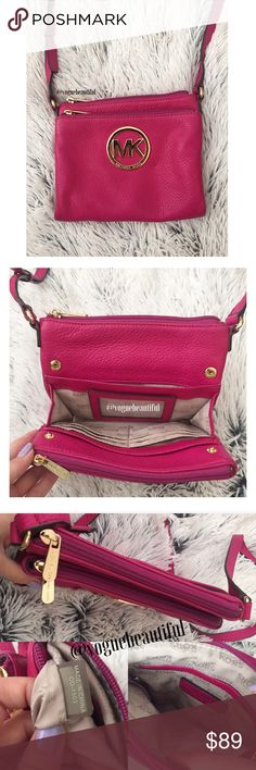 Michael Kors Fuschia Double Zip Crossbody 100% authentic Michael Kors fuschia crossbody • 2 zip compartments & 1 snap open compartment in the center •gold hardware •  plenty of space • DIMENSIONS: 7.5 inches across x 6.5 inch height x adjustable crossbody strap • lightly preloved with just two light marks on the back (shown) & a few hairline scratches on the logo • 🚨NO TRADES🚨 Michael Kors Bags Crossbody Bags