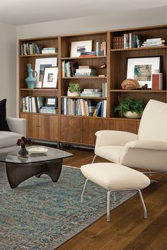 Sanders is a mid-century-inspired coffee table with a solid wood base and tempered glass top. Home Office Design, Home Office Decor, Home Interior Design, Home Decor, Condo Living, Apartment Living, Living Room Decor, Modern Farmhouse Interiors, Modern Farmhouse Kitchens