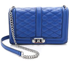 Rebecca Minkoff Love Cross Body Bag (277 AUD) ❤ liked on Polyvore featuring bags, handbags, shoulder bags, majorca blue, leather cross body handbags, blue leather handbag, genuine leather handbags, leather handbags and chain shoulder bag