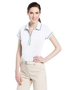 adidas Golf Womens PUREMOTION Piped Polo Shirt WhiteSolar Blue Medium *** Click image for more details. Amazon Affiliate Program's Ads.