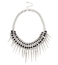Silver and Black Bead Spike Necklace