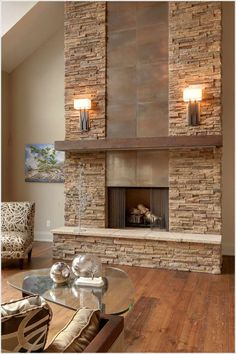 Stone and tile fireplace