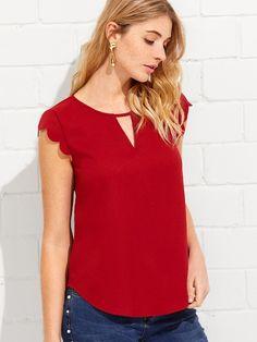 b38c7b2170219 V Notch Front Scallop Trim Curved Hem Top Latest Fashion For Women