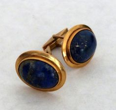 Pair of 14k Gold and Lapis Cufflinks : Lot 170