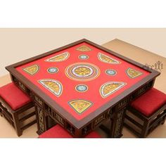 Aakriti Arts Dining Table with 4 Stools Warli Red #Wowshoppe