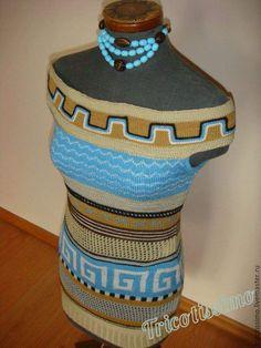 Купить Туника Кефалония, ручное вязание - синий, орнамент, вязаная туника, вязанная туника