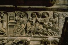 Gilles-du-Gard: Christ Driving the Money-changers from the Temple, detail of portion of frieze to left of central portal of the West front, ca. Cleansing Of The Temple, Rouen, Romanesque, Montpellier, Virtual Tour, Middle Ages, Saints, Provence France, Sculpture