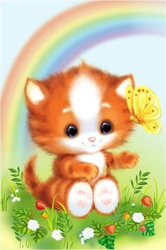 Dealing With Cat Allergies Cute Animals Images, Cute Cartoon Images, Cute Images, Cute Pictures, Animated Cartoon Characters, Cute Characters, Animal Paintings, Animal Drawings, Kitten Images