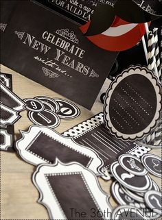 New Year's Eve Chalkboard Party {Free Printables & Photo Booth Props} - Love the props for C's bday