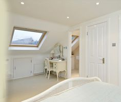 bedroom loft conversion brackenbury village London by The Kitchen and Loft Company Loft Conversion Dressing Room, Dormer Loft Conversion, Loft Conversion Bedroom, Loft Conversions, Attic Loft, Loft Room, Bedroom Loft, Bedroom Decor, Loft Bathroom