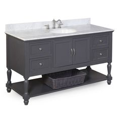 Beverly 60-inch Single (Carrara/Charcoal Gray)