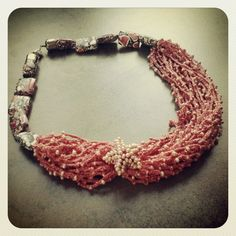 Crochet necklace with starfish.