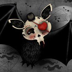 Vampire BAT - Day of the Dead -  PRINT of original illustration by Ganbatte - 12.2 x 8.7 in Love.