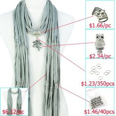 DIY Scarf Accessories, Variety Pendants Charm Jewelry Scarf, Necklace Pashmina