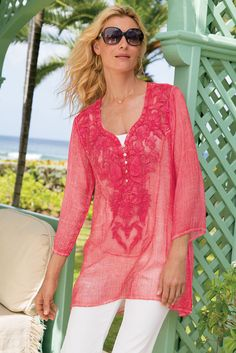 Our whisper-soft San Raphael Tunic looks stunning with delicate gold accessories.