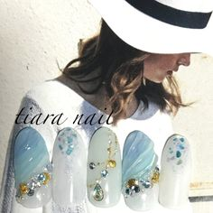 夏/海/リゾート/女子会/ハンド - tiara84のネイルデザイン[No.3374167]|ネイルブック Korean Nail Art, Korean Nails, Japanese Nail Design, Japanese Nail Art, Nail Manicure, Gel Nails, Japan Nail, Asian Nails, Kawaii Nails