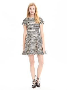 Print Jacquard Fit-and-Flare Dress | Banana Republic - $158