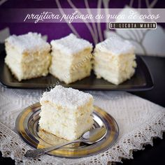 Romanian Desserts, Romanian Food, Sweet Desserts, Vanilla Cake, Bakery, Good Food, Food And Drink, Coconut, Cooking Recipes