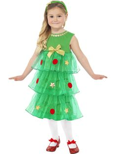 Disfarce vestido pinheiro de Natal menina
