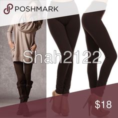 """DARK BROWN fleece lined leggings super soft OS 🚩ONE SIZE FLEECE LINNED leggings. 🔆Stretch to fit (Plenty of stretch). 🔆Thick not opaque. 🔆2.5-3"""" wide waisted band.perfect solid, basic essential leggings. 💫 Polyester, spandex blend. ‼️Also available in Black, burgundy, charcoal gray, navy blue, and sand in my closet 🚩TAG  SAYS OS(one size fits most), best fits S-L(2-14)🚩 ‼️Sizes options added  for search purposes‼️ Boutique Pants Leggings"""