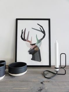 Brother Deer Giclee Print, A3 Ditte Maigaard Studio for Sønderho www.sonderho.com Geometric Animal