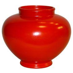 "Large Atomic Red Weller Art Pottery Vase, Circa 1930, 12"" high."