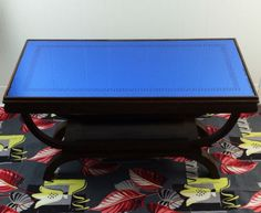 Vintage-Art-Deco-Cobalt-Blue-Glass-Mirror-Roman-Border-Curved-Wood-Coffee-Table