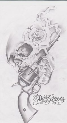 Gun n Roses Skull Tattoo Drawing