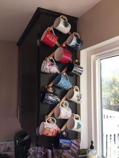 Amazon.com: Fox Run Expanding Beechwood Coffee Mug Wall Rack: Mug Hooks: Kitchen & Dining