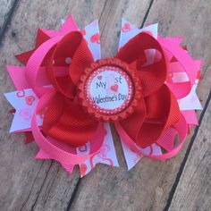 1st Valentine's Day - 1st Valentine's Day hair bow - Valentines Day hair bow - Valentines Day bow - Valentines Day Boutique Bow by BBgiftsandmore on Etsy