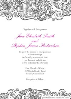 Free Wedding PDF DOWNLOADS. Deco Border Wedding Invitation - easy to edit and print at home.