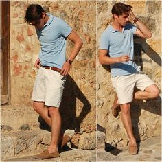 Scotsh And Soda Blue Polo, H Beige Short, Ray Ban Sunglasses