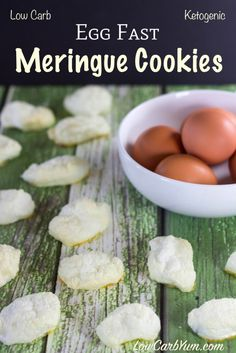 Looking for a snack to enjoy while on an Egg Fast? These stevia sweetened sugar free meringue cookies have about zero carbs so they are safe on a keto diet.