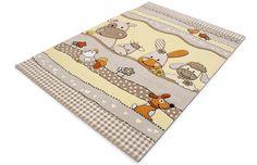 Παιδικό χαλί μπεζ φάρμα ζώων  Kids room carpet beige farm animal