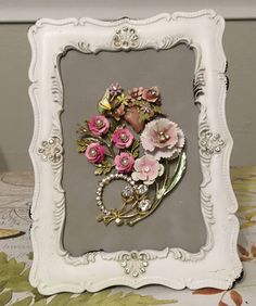 Vintage Jewelry Floral Framed Art Collage Picture -- Delicate Pinks by RevivalVtgJewelsArt on Etsy