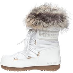 TECNICA MOON BOOTS Moon Boot We Monaco Low After Ski Boot White (110 NZD) ❤ liked on Polyvore featuring shoes, boots, ankle booties, ankle boots, water-resistant boots, short boots, white booties and white ankle booties