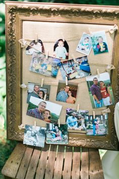 Great way to showcase photos of the couple at a wedding. Andrew & Erin Photography / See more on http://www.rusticfolkweddings.com/2014/09/15/christian-southern-farm-wedding/