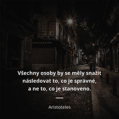 Všechny osoby by se měly snažit následovat to, co je správné, a ne to, co je stanoveno. - Aristoteles