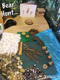 We're Going on a Bear Hunt Small World. EYFS - Communication Language, Physical Development, Literacy and Understanding the World Nursery Activities, Literacy Activities, Activities For Kids, World Book Day Activities, Preschool Literacy, Activity Ideas, Play Based Learning, Early Learning, Tuff Spot