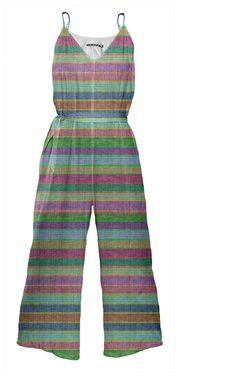 Multicolored Stripe Printed Tie Waist #Jumpsuit by #dflcprints